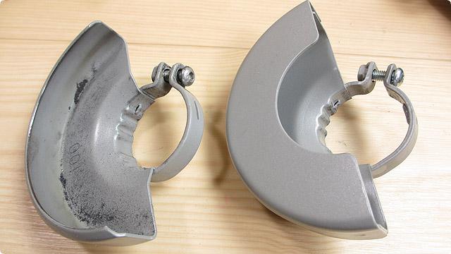 研削砥石用保護カバーと切断砥石用保護カバーの比較