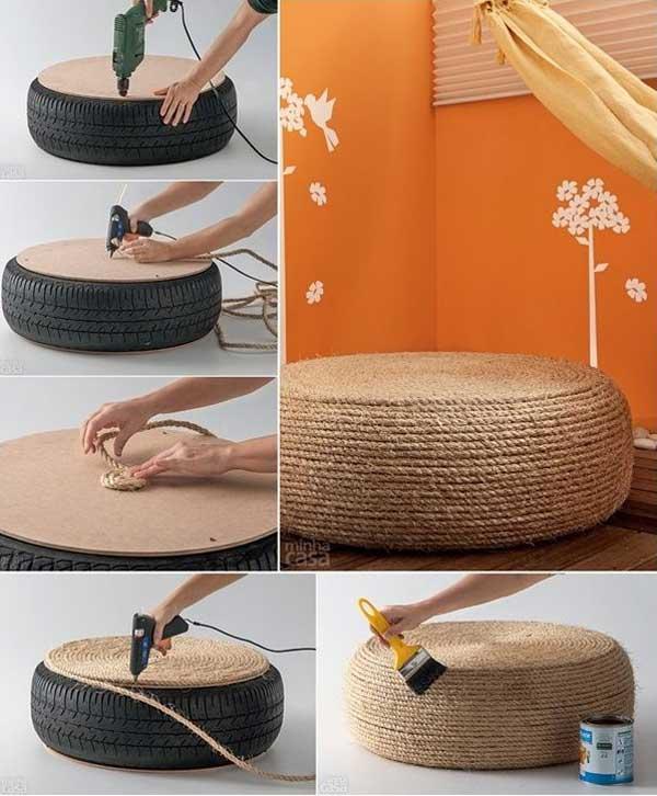 タイヤでテーブル 椅子を作る方法