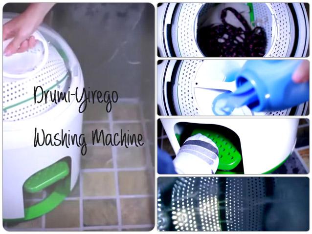 電気を使わない足踏み洗濯機