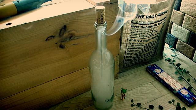 空き瓶(ボトル)でお香立てをつくる方法