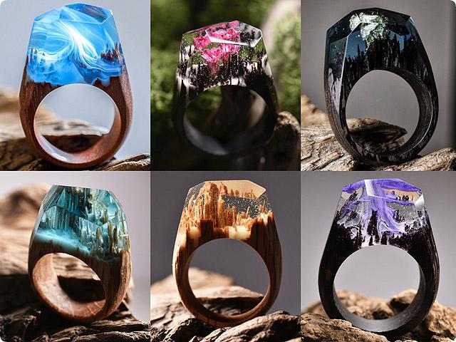 ハンドメイド 木の指輪