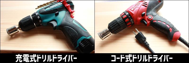 瓶に穴をあけるために必要な工具(ドリルドライバ)