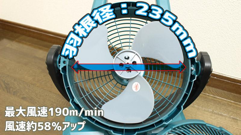 マキタ-充電式ファン CF203DZの羽根経と風速