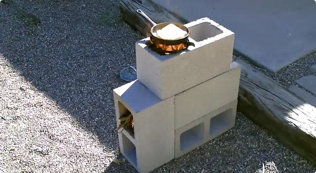 ブロックで作るロケットストーブ
