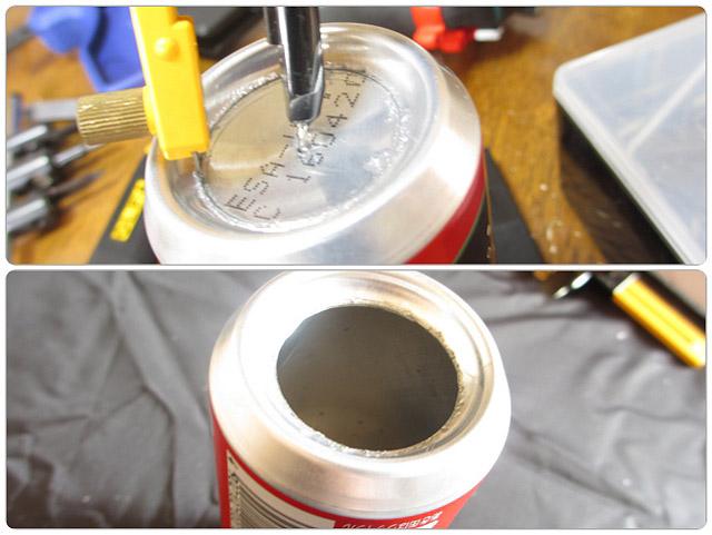 空き缶の底に大きな穴を綺麗に開ける方法