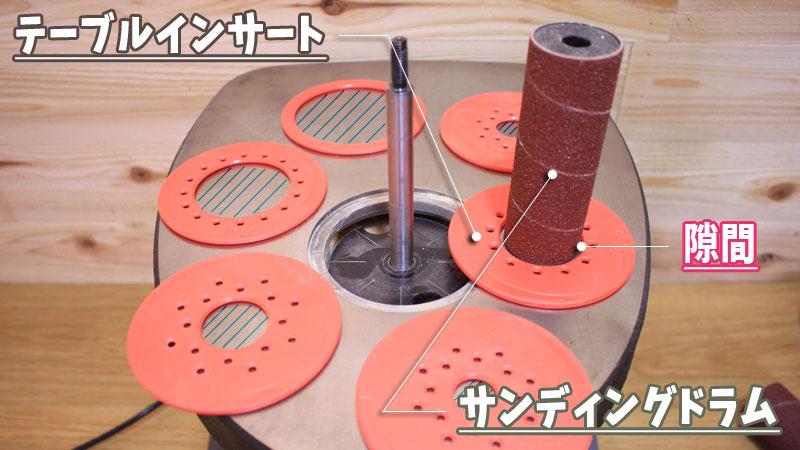 サンディングドラムの取り付け方(テーブルインサート)