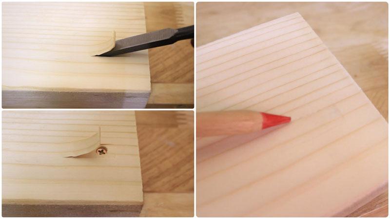 ビスを隠す方法(鑿 or 彫刻刀)